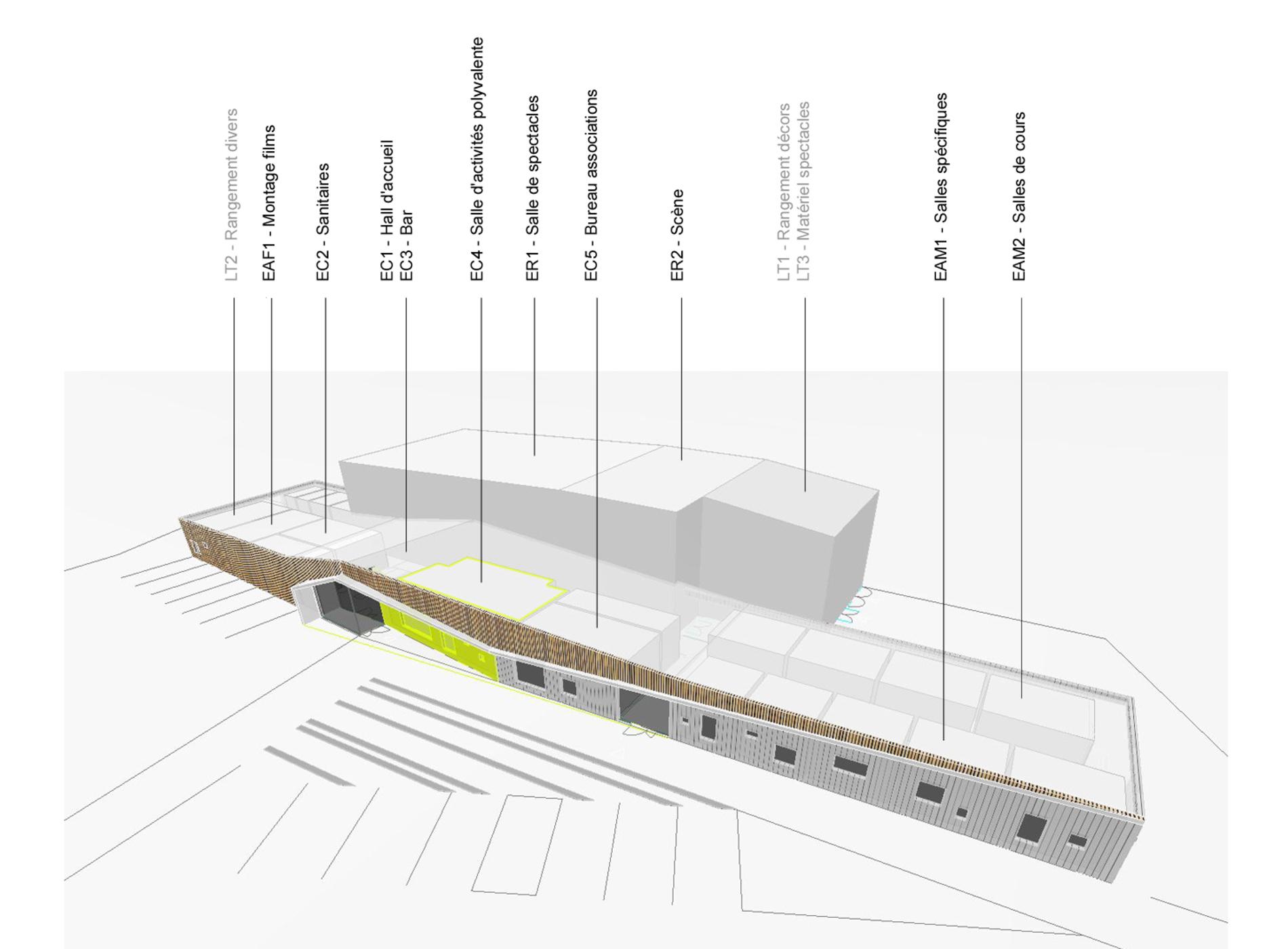 Programmation architecturale – Construction d'un pôle culturel à Sucé-sur-Erdre - Axonométrie - Cap Urbain, agence de programmation urbaine et architecturale à Nantes // Crédits : Déesse 23 Architecture