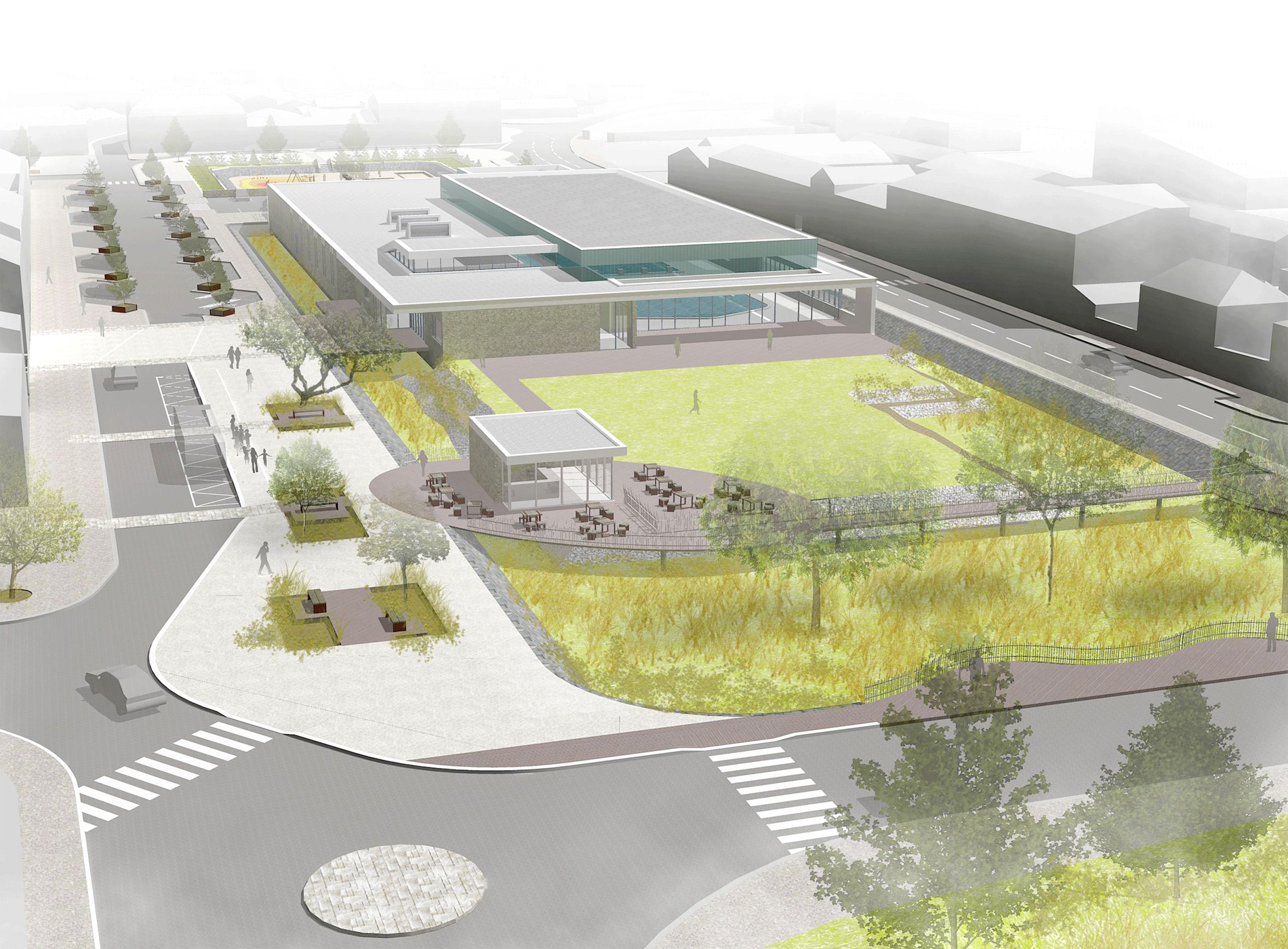 Programmation urbaine - Aménagement des espaces publics - Place du Port à Luçon - Axonométrie - Cap Urbain, agence de programmation urbaine et architecturale à Nantes