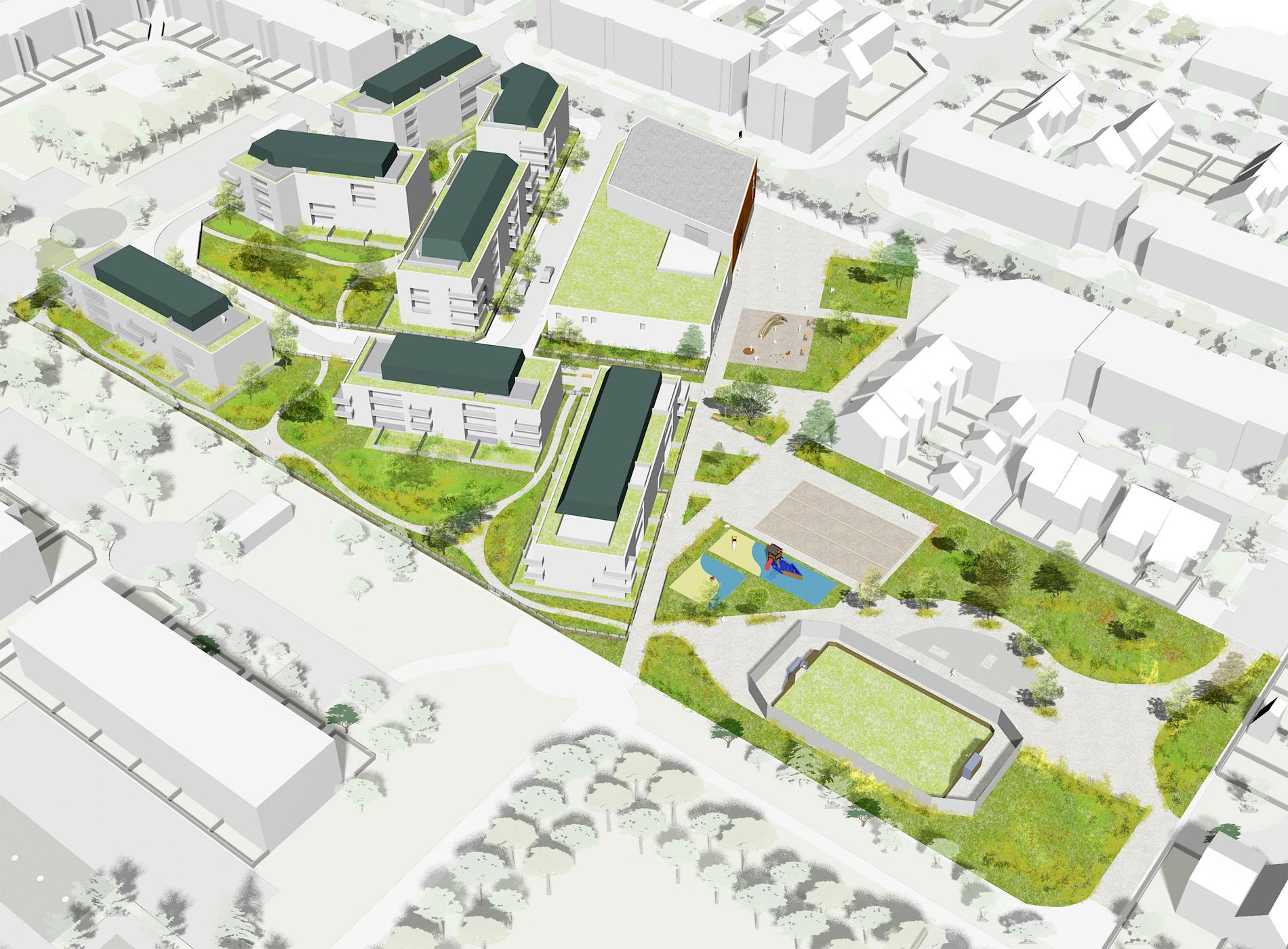 Programmation urbaine - Aménagement d'un projet complexe à Montigny-le-Bretonneux - Axonométrie - Cap Urbain, agence de programmation urbaine et architecturale à Nantes