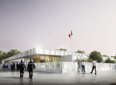 Gendarmerie à Pontchateau - Perspective de concours - Cap Urbain, agence de programmation urbaine et architecturale à Nantes Crédits image : Anthracite 2.0
