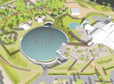 Etude urbaine – Planète Prédateurs – Espaces publics et piscine à Civaux - Axonometrie - Cap urbain, agence de programmation urbaine à Nantes